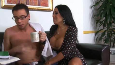 Raven with huge tits takes step son to another level of sex