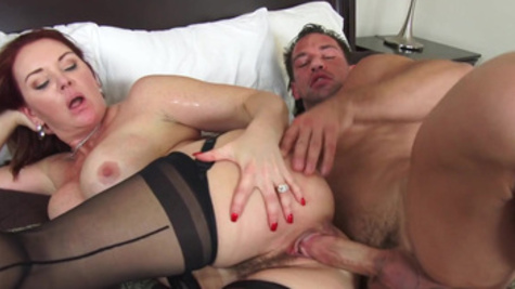 Janet Mason fucks with her husband inside a pussy in the bedroom