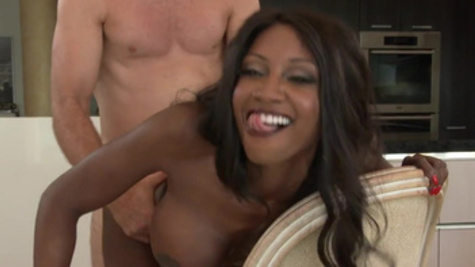 Sweet ebony housewife, Diamond Jackson, rides the white dick with lust
