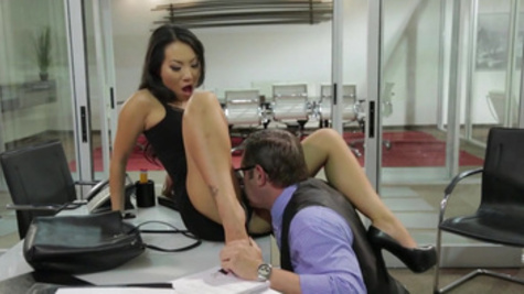 Asian beauty,Asa Akira, gets hard fucked by boss for a raise