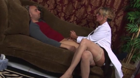 Horny doctor Jodi West gives a patient explosive handjob