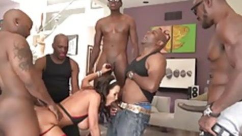 Black gangbang fucking delights for big hooters Lisa Ann