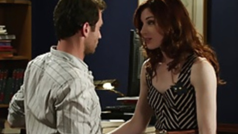 Awesome office sex pleasuring with Stoya and James Deen