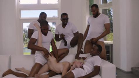 All blacks gangbang sex for sweet blonde Piper Perri