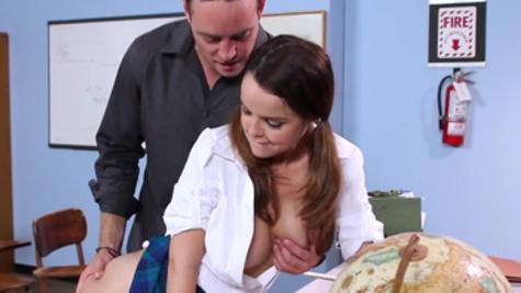 Sweet schoolgirl Dillion Harper enjoys wild classroom sex