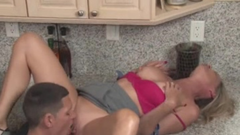 Jodi West makes a passionate sex with her son-in-law in the kitchen