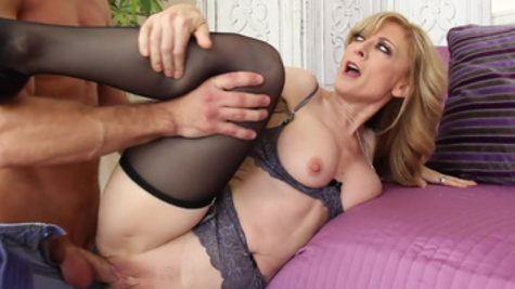 Raunchy sex with a hot blonde Nina Hartley in stockings