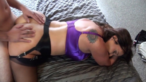 Rachel Steele in stockings receives rough doggystyle drilling