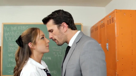 Remy LaCroix seduces her hot teacher with lusty blowjob