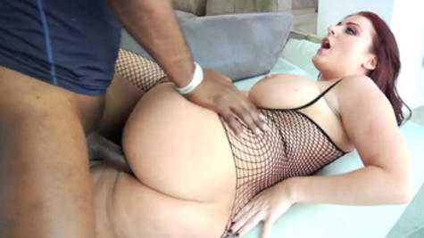 Stunning Sophie Dee tackles a thick black cock with blowjob