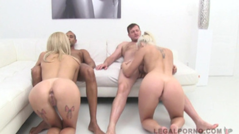 Explosive foursome fucking with hot Karina Grand and girlfriend