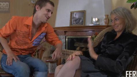 Young stud licks mature Natali Semenova's pussy wildly