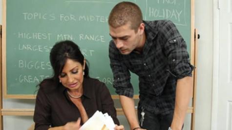 Tara Holiday fucks her student for a good grade he received