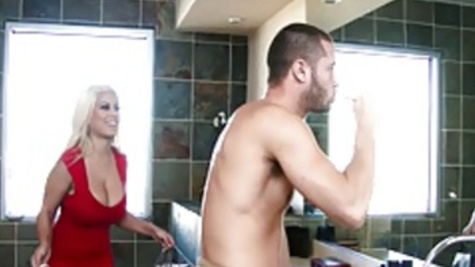 Bathroom fuck of big boobed chick Bridgette B and her man