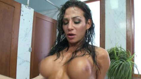 Enthralling shower sex with stunning big hooters sweetheart