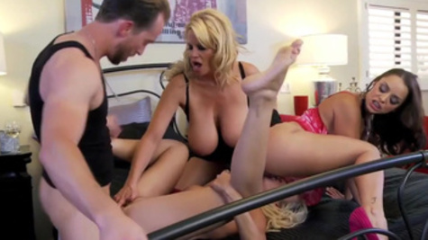 Naughty MILFs make a group sex with one man in the bedroom