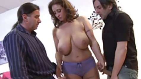 Big boobed lady Eva Notty enjoys a great threesome fuck