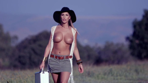 Wild cowgirl August Ames gets nailed with a big dagger