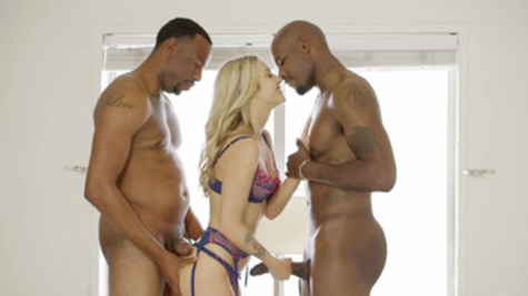 Threesome fuck with remarkable Carla Kush and two black men