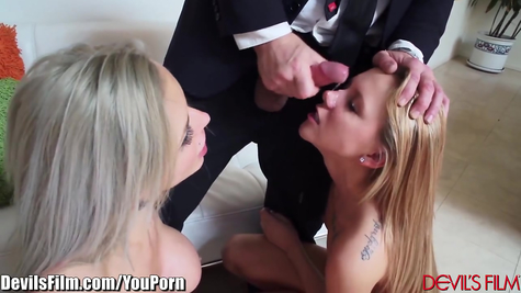 An experienced fucker frolicked for glory with two available chicks