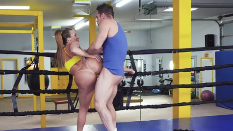 Sparring ends for busty MILF Richelle Ryan and coach with sex