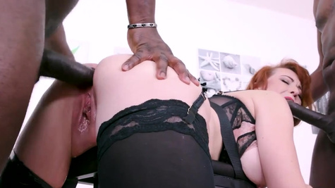 Red-haired MILF Isabella Lui double penetrated with black dicks