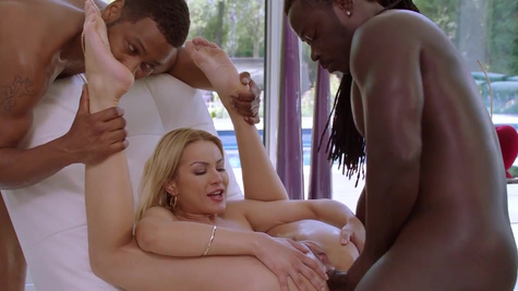 Blonde Cherry Kiss has threesome with black BF and his buddy