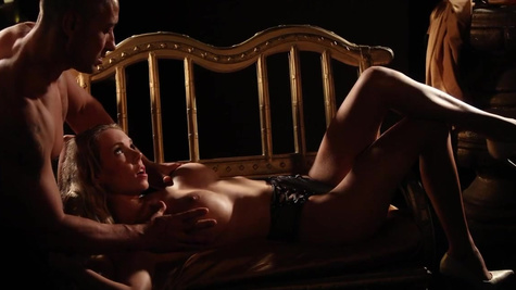 Macho unhurriedly fucks blonde Florane Russell in darkness