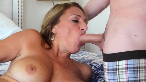 Busty blonde mature Torri Lee analyzed by stocky porn actor