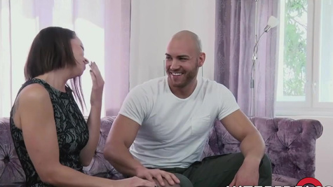 Bald male with pleasure fucks Caroline Ardolino in stockings