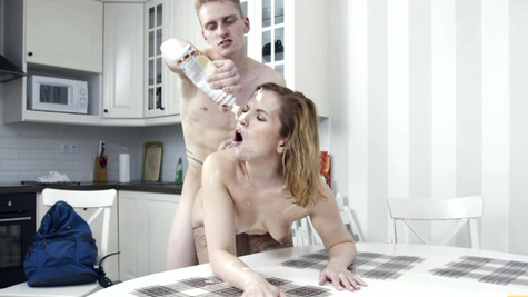 Female tutor in stockings agrees to sex with the stud