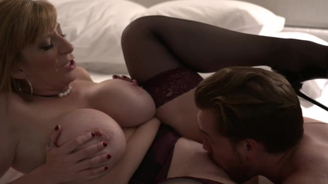 Full-bosomed hooker Sara Jay provides sex services to the hunk