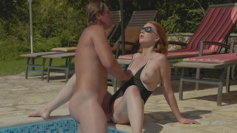 On hot summer day Amaris is penetrated by the pool