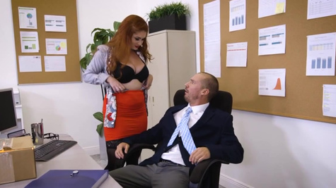 Boss sneaks into ginger secretary Lennox Luxes' pussy