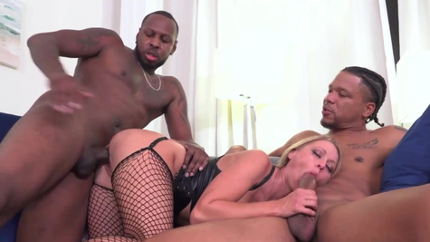 Katie Morgan is warmed up with two BBC in front of husband