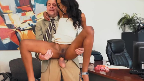 Boss thrusts cock into black whore Chanel Skye's pussy