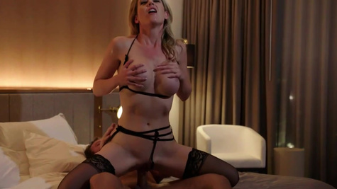 Courtesan girl Kit Mercer in stockings is fucked by the client
