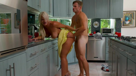 Super-sexy blonde London River is fucked in kitchen and bed