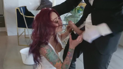 Tattooed MILF Monique Alexander is fucked by the butler