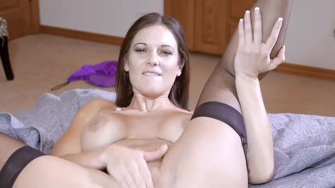 Perverted MILF Mandy Flores has cumming dildo to be facialized