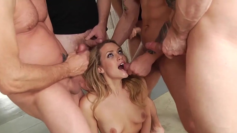 Mia Malkova is perfect at group oral sex called blowbang