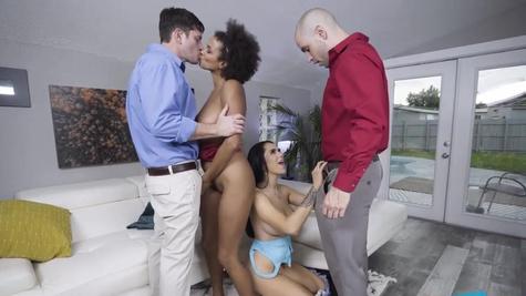 White stepdads punish Alina Ali and MJ Fresh with penises
