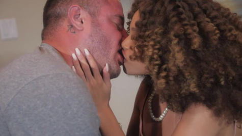 Curly black whore Cecilia Lion is bonked by the white boy