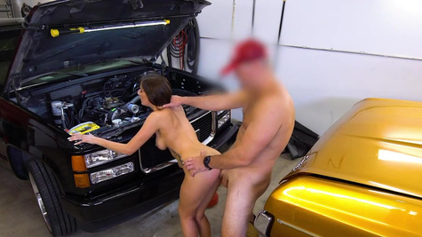 Woman mechanic Ally Cooper likes sex with client in the garage
