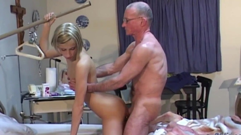 Blonde nurse Paris Pink is fucked by the old patient