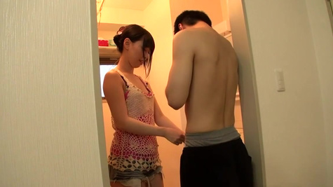 Japanese Miku Oguri helps boyfriend undress to fuck her