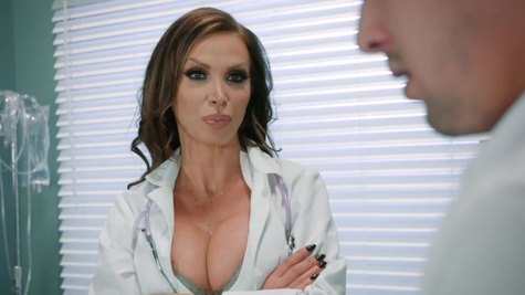 Briana Banks and Nikki Benz have sex after helping the patient