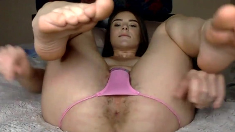 Young webcam model Megan Marx plays with hairy pussy