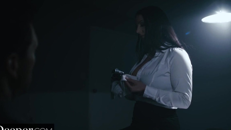Detective Angela White saddles cock to make its owner talk