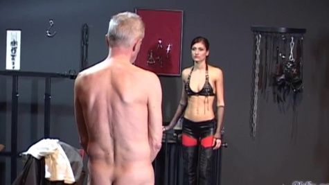 Skinny old man has to fuck the young mistress Sophie Red